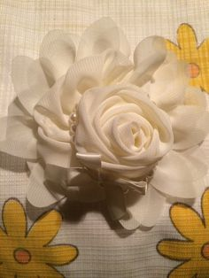 Off white Flower with pearl by HelgasHairBowDesigns on Etsy