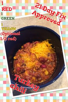21 Day Fix Approved --  Crockpot Turkey Chili Ingredients 1 lb. raw 93% lean ground turkey 1/2 white onion, chopped 1 swee...