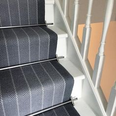 I love to use bold stair runners that add so much interest to hallways. Even though the entrance hall is not always considered to be one of the main rooms in a home, it is important to treat the design as such. Stairs Home Depot, House Stairs, Painted Staircases, Painted Stairs, Stairway Carpet, Hallway Carpet, Bedroom Carpet, Salisbury House, Hallway Inspiration