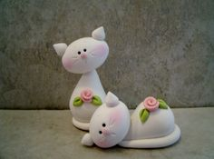 Kitty Pair Figurines by countrycupboardclay on Etsy