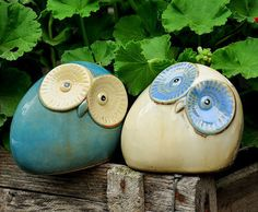 Ceramic Owl Couple Set Ornament / Piggy Bank