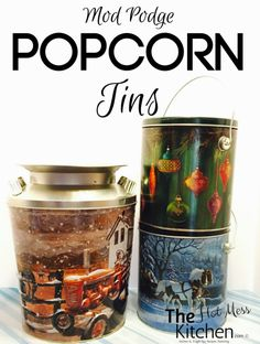 Give your Christmas popcorn tins a makeover with this easy DIY Mod Podge Popcorn Tins craft.