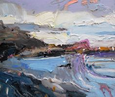 """It was a wild old weekend here on the #coast. And yes, that #wave is mauve """"After the Storm"""", 35X45cm, oil on board #interiordesigners #interiordesignideas #architects"""