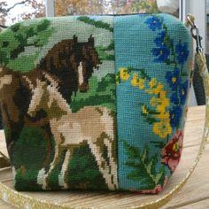 Recycled embrodery. Small crossbody bag. Kreativa Björnskog