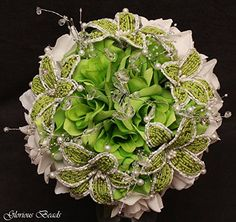 Lime Green Beaded Lily Wedding Flower 17 piece set with Lime and White Roses ~ Unique French beaded flowers and beaded sprays: Includes Bouquets Corsages and Boutonnieres. Handmade
