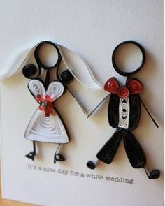 man and wife quilling its a nice day for a white wedding