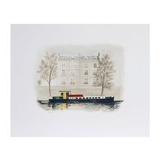 Pre-Owned Paris Barge by Mary Faulconer ($245) ❤ liked on Polyvore featuring home, home decor, wall art, parisian wall art, american litho, paris wall art, paris home decor and parisian home decor