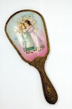 ANTIQUE Art Nouveau Ornate Hand Held Vanity Mirror.