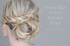 The Small Things Blog: Messy Bun with a Braided Wrap, hair tutorial, hair style, tutorial, updo