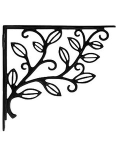 "Leafy Branch Cast Iron Shelf Bracket - 7 1/8"" x 8 3/16"" 