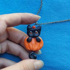 Halloween Black cat and Pumpkin Polymer Clay Pendant