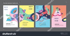 Abstract  Colorful liquid and curvy covers set. Bubble shapes cartoon character composition. Trendy retro toys design.