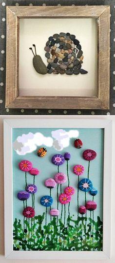 MENTŐÖTLET - kreáció, újrahasznosítás: Egyszerű kavicsképek gyerekszobába Stone Pictures, Craft Shop, Stone Art, Little People, Fondant, Diy And Crafts, Creations, Frame, Kids