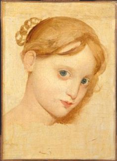 Head of a young blond girl with blue eyes (Laure-Zoega) - Jean Auguste Dominique Ingres