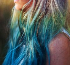 Set of 5 Ombre Blue, Green and Yellow - Salon Grade Colored Hair Chalk - Temporary Color Pastels $7.99