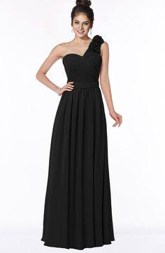 Black Simple A-line One Shoulder Half Backless Chiffon Flower Bridesmaid Dresses