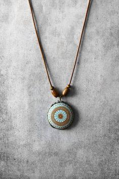 Mandala necklace, hippie necklace, boho jewelry, handmade jewelry, mandala pendant, turquoise necklace, pendant, unique jewelry, gift for woman, geometric necklace Kollier | Collana | Colar | Kолье | Collar | Gargantilla | 项链 | Jewellery | Necklaces | Gift ideas by ANANKE JEWELRY on Etsy