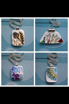 Salvaged broken ceramics repurposed into pendants