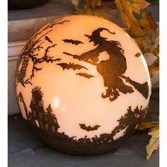 diy halloween decorations for inside This magical, mystical ball features a Halloween scene featuring a witch in flight, bats, graveyard, haunted mansion Retro Halloween, Casa Halloween, Halloween Ball, Halloween Scene, Halloween Home Decor, Holidays Halloween, Halloween Crafts, Happy Halloween, Halloween Lighting