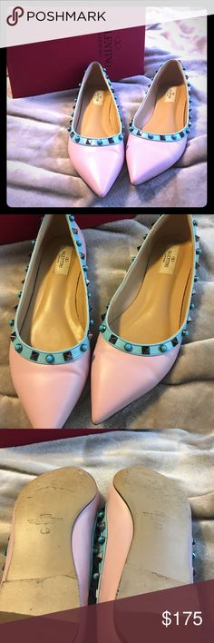 Valentino style studded flat Only worn a couple of times! Valentino style flat with metal gray studs and turquoise studs. Size European 40 will fit a US size 8.5 to 9. Light lavender color shoe with blue outline. Very cute! Comes with Valentino box. Valentino Shoes Flats & Loafers