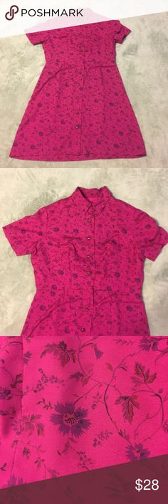 """Vintage 80s dress Perfect condition 80's vintage dress. Fuchsia with deep purple flower print. There are no tags but fabric feels light, possibly cotton blend. What strikes you about this dress is how well made it is. It has beautiful buttons and belt loops but also looks cute without a belt.  Seems like size M. approximate measurements are length 36"""" waist 33"""" Bust 40"""" Vintage Dresses Mini"""