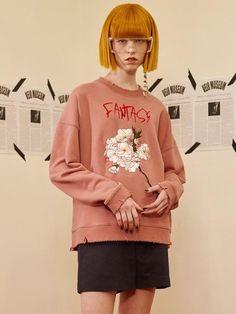 VEI-8 [unisex] Flower Distressed Sweatshirt Pink
