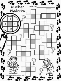 Math FREEBIE! Number Mysteries for Math Detectives! Includes worksheet and 30 cards in color and b/w! Fun Math, Math Activities, 1 More 1 Less Activities, Math Games, Math Resources, Math For Kids, Maths, Mental Math Strategies, 5 Au Quotidien
