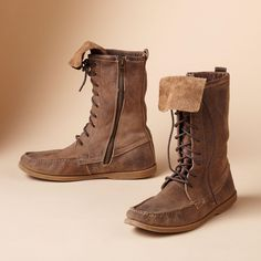 "SECOND GENERATION BOOTS -- Aged to look like you've loved them forever, these outback boots can be worn cuffed or not. Inside zipper. Leather. Imported. Whole and half sizes 6 to 10. 1/2"" heel."