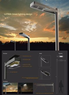 LUTIMA-LED Street Lighting | DesignKOI studio Led Street Lights, Solar Street Light, Urban Furniture, Street Furniture, Lamp Design, Lighting Design, Street Light Design, Alternative Energie, Plakat Design