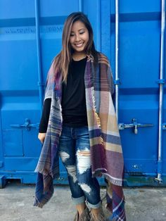 Multi Colored Knit Plaid Poncho Scarf-Tops-Sweet Bee Boutique