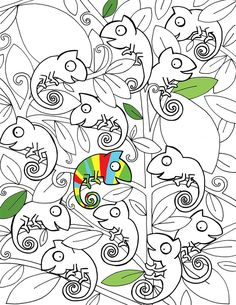 chameleon coloring page - free printable perfect for kids on summer break