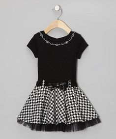 Trimmed in tulle and impressive in houndstooth, this scholarly style has learned a thing or two about fun fashion—frill goes a long way. A button at the back and snap closure belt help it fit as nicely as an easy A. Frocks For Girls, Kids Outfits Girls, Toddler Girl Dresses, Girl Outfits, Toddler Girls, Little Girl Fashion, Fashion Kids, Little Girl Dresses, Girls Dresses