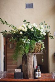 rustic setting for flowers