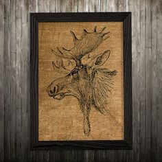 Stag print. Deer poster. Antlers decor. Burlap print.  PLEASE NOTE: this is not actual burlap, this is an art print, the image is printed on art