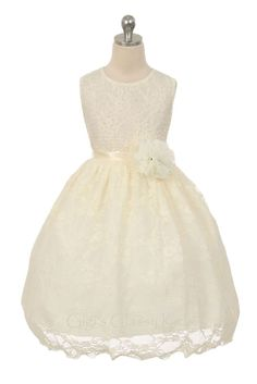 Ivory Flower Girl Lace Dress Wedding Pageant Birthday Christmas Party Formal 338 #EasterDressyHolidayPageantWedding