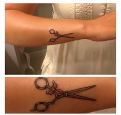 My new tattoo! Hair cutting shears tattoo with pink bow.