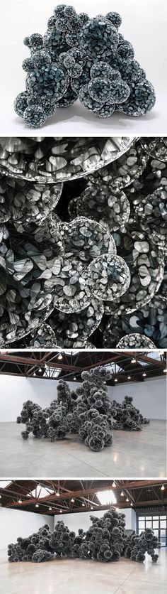 Art ::: Rocks made of mylar and hot glue by Tara Donovan