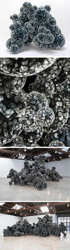 Tara Donovan's amazing installation, Untitled, 2011. Mylar and Hot Glue (amazing!)