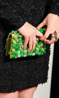 jeweled green clutch