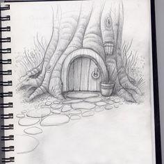 hobbit home Faser Kunst Landscape Pencil Drawings, Pencil Art Drawings, Simple Landscape Drawing, Creative Pencil Drawings, Landscape Sketch, Art Drawings Sketches Simple, Cool Drawings, Pencil Sketches Simple, Tree Pencil Sketch