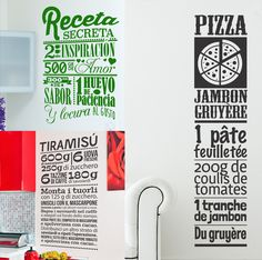 Find your favorite menus on our website ! You can also create your own recipe by sendind us a message. Have it your way ! www.tenstickers.com #Recipe #Food #Menu #Eat #Stickers #WallStickers #Kitchen #Design