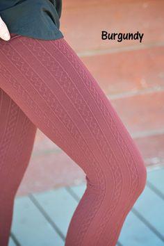 GroopDealz | Cable Knit Fleece Leggings - 16 Colors! #groopdealz #leggings #cute leggings