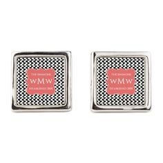 Elegant Black and White Leaves Pa Square Cufflinks