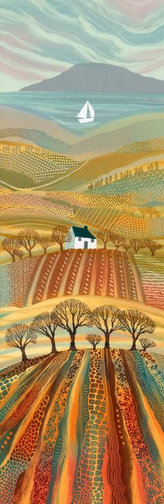 by Rebecca Vincent Northumberland-England ( ARTFINDER: Promised Land by Rebecca Vincent - The very tall format of this piece gave me the scope to include all my favourite landscape elements: the sea, the hills, valleys and trees. I used to draw hi. Landscape Quilts, Landscape Art, Landscape Elements, Henri Rousseau, Naive Art, Art And Illustration, Art Plastique, Painting Inspiration, Amazing Art