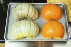 Blue Hubbard squash is a winter vegetable with a tough, inedible skin. You can store it for up to six months in a cool, dry place and it will remain moist and flavorful. Blue Hubbard is a large squash, weighing from 11 to 20 pounds. Baby Blue Hubbard Squash Recipe, Hubbard Squash Recipes, Oven Roasted Squash, Baked Squash, Vegetable Dishes, Vegetable Recipes, Vegetarian Recipes Dinner, Healthy Recipes, Diet Recipes