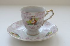 Vintage Demitasse Cup and Saucer  Yellow and by shabbyshopgirls