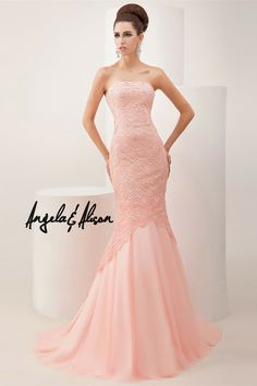 Angela and Alison - 41036 This exquisite strapless mermaid floor length gown features a beaded lace appliqué throughout and a tulle bottom. An absolute jaw dropper. Available size: Available colors: Peach Store Locator Grad Dresses, Mermaid Prom Dresses, Formal Dresses, Wedding Dresses, Formal Wear, Strapless Party Dress, Ball Gown Dresses, Evening Dresses 2014, Evening Gowns