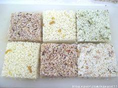 재료 - 말린쌀 3C, 튀김 기름 적당량 ( 멥쌀 4C => 말린 밥알 3 .3 C ) - 땅콩/ 호박씨/ 대추/ 석이... Krispie Treats, Rice Krispies, Food And Drink, Bread, Desserts, Postres, Deserts, Breads, Rice Krispie Treats