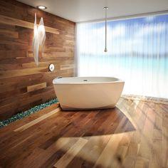 Salle de bain lumineuse, sobre, salle de bain zen, vue sur l'océan