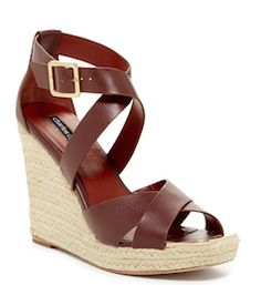 Love the dark brown leather on these wedges